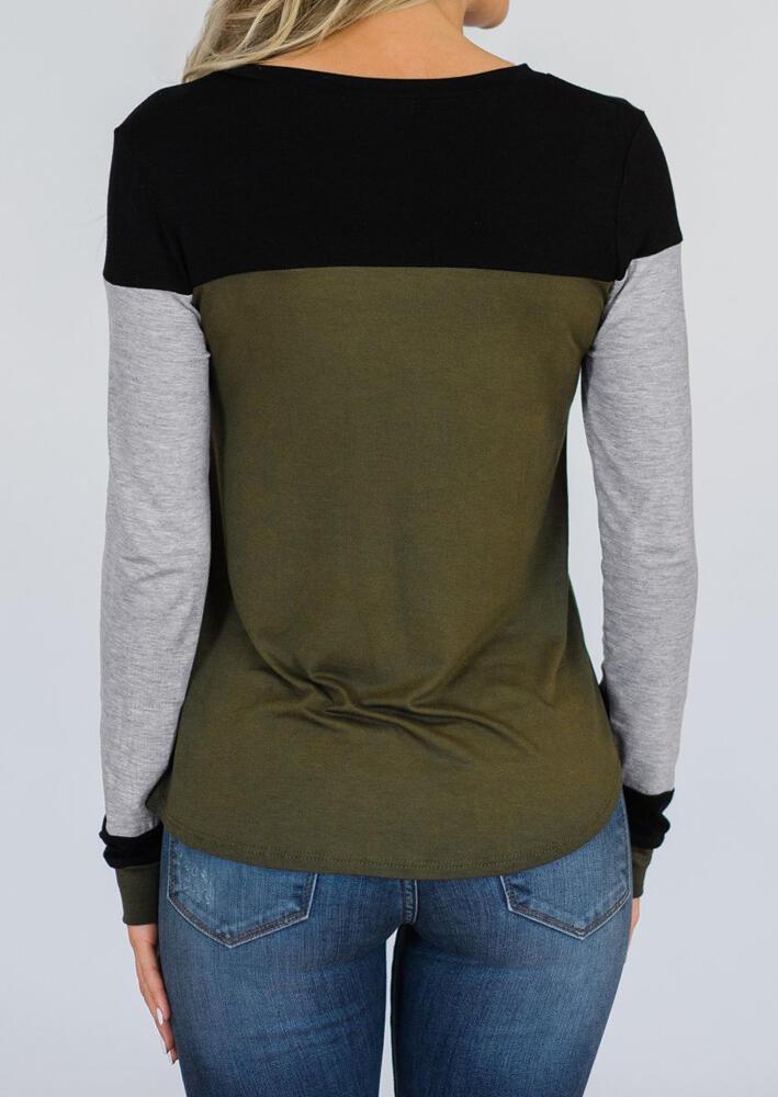 Color Block Long Sleeve T-Shirt Tee - Army Green