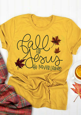 Thanksgiving Fall For Jesus T-Shirt Tee - Yellow