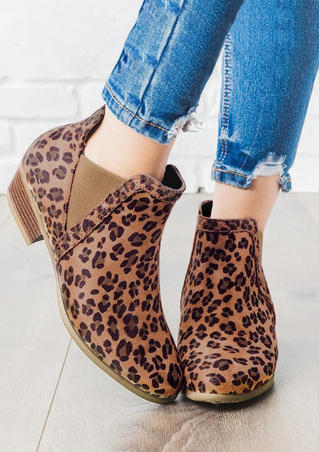 Leopard Printed Round Toe Ankle Boots
