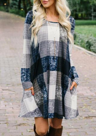 Plaid Pocket Long Sleeve Mini Dress without Necklace