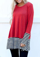 Color_Block_Striped_Splicing_Blouse__Red