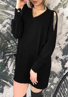 Solid_VNeck_Hollow_Out_Mini_Dress_without_Necklace__Black