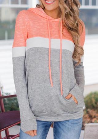 Color Block  Pocket Drawstring Hoodie - Light Grey