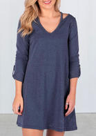 Solid_VNeck_Hollow_Out_Mini_Dress__Blue