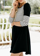 Striped_Splicing_ONeck_Mini_Dress__Black