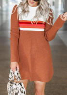 Striped_Color_Block_ONeck_Mini_Dress__Brown