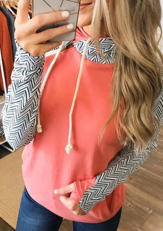 Geometric Printed Splicing Drawstring Thumbhole Hoodie - Orange