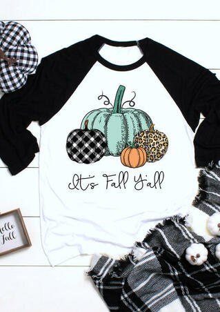 Plaid Leopard Printed It's Fall Y'all Pumpkin T-Shirt Tee - White