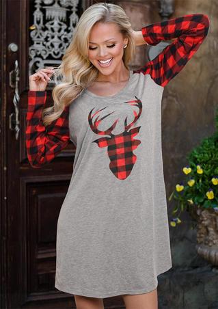 Plaid Splicing Reindeer Mini Dress - Gray