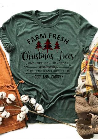 Farm Fresh Christmas Trees T-Shirt Tee - Dark Green
