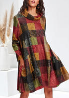 Plaid_Splicing_Pocket_Cowl_Neck_Casual_Dress