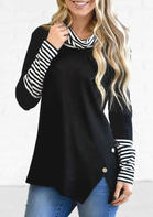 Striped_Splicing_Cowl_Neck_Slit_Blouse__Black