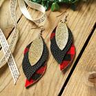 Plaid Sequined Leaf Multi Layered Leather Earrings