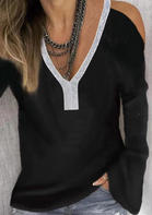 Sequined_Splicing_Cold_Shoulder_Blouse_without_Necklace__Black