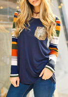 Color_Block_Striped_Sequined_Blouse_without_Choker__Navy_Blue