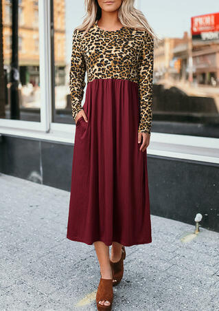 Leopard Printed Ruffled Pocket Long Sleeve Maxi Dress - Burgundy