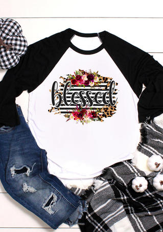 Floral Striped Leopard Printed  Blessed T-Shirt Tee - White