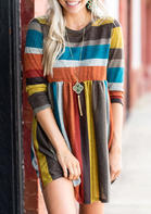 Color_Block_Striped_Pocket_Mini_Dress_without_Necklace