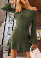 Solid_Ruffled_Off_Shoulder_Knitted_Mini_Dress__Dark_Green