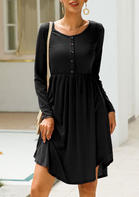 Solid_Button_Long_Sleeve_Casual_Dress__Black