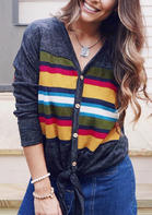Striped_Tie_Button_VNeck_Blouse_without_Necklace__Multicolor