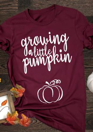 Maternity Growing A Little Pumpkin Pregnancy Cute T-Shirt - Burgundy