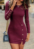 Solid_Button_Bodycon_Dress_without_Necklace__Burgundy