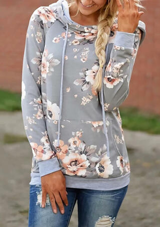 Floral Splicing O-Neck Kangaroo Pocket Hoodie - Light Grey