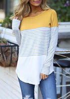 Striped_Splicing_Asymmetric_ONeck_Blouse__Yellow