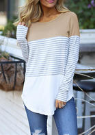 Striped_Splicing_Asymmetric_ONeck_Blouse__Khaki