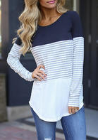 Striped_Splicing_Asymmetric_ONeck_Blouse__Deep_Blue