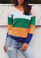 Striped_Color_Block_Splicing_TShirt_Tee__Multicolor