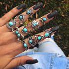 Geometric_Moon_Heart_Lotus_Turquoise_Ring_Set