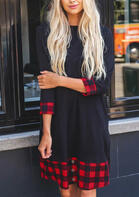 Plaid_Splicing_Pocket_Mini_Dress__Black