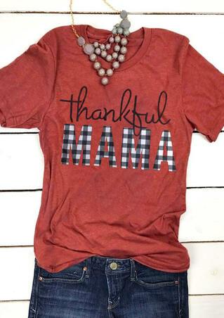 Plaid Thankful Mama T-Shirt Tee - Orange