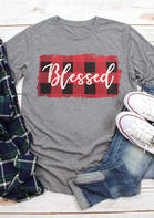 Blessed_Plaid_ONeck_TShirt_Tee__Gray
