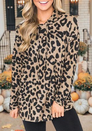 Leopard Printed Splicing Drawstring Hoodie