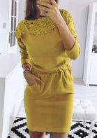 Solid_Lace_Splicing_Pocket_Drawstring_Bodycon_Dress__Yellow