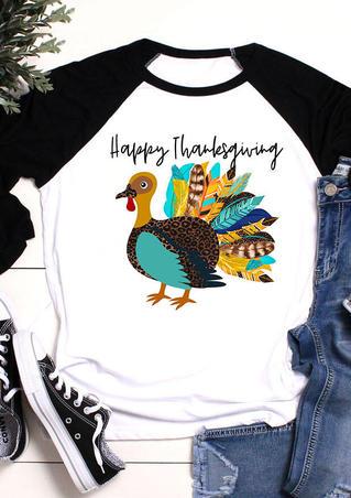 Happy Thanksgiving Turkey T-Shirt Tee - White