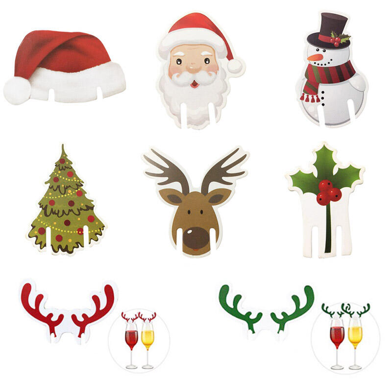 Christmas Toppers For Cupcakes.8 Pcs Snowman Santa Claus Christmas Glass Decoration Bellelily