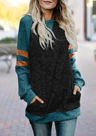 Color_Block_Striped_Splicing_Pocket_Raglan_Long_Sleeve_Blouse__Dark_Grey