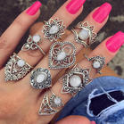 9_Pcs_Opal_Hollow_Out_Lotus_Flower_Ring_Set