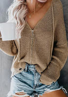 Solid_Knitted_Zipper_Sweater_without_Necklace__Khaki