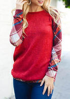 Plaid_Splicing_ONeck_TShirt_Tee__Red