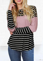 Striped_Splicing_Leopard_Printed_ONeck_Blouse