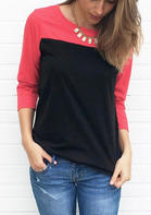 Color_Block_Splicing_ONeck_TShirt_Tee_without_Necklace__Red