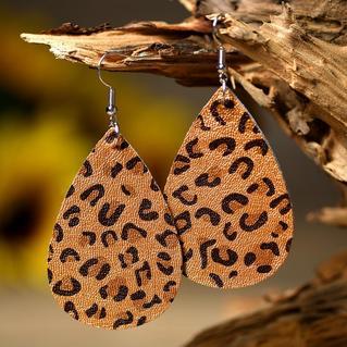 Leopard Printed Leather Earrings