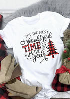 Christmas Wonderful Time Of The Year T-Shirt Tee - White