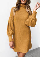 Solid_Knitted_Turtleneck_Lantern_Sleeve_Mini_Dress__Yellow