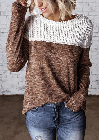 Color Block Knitted Splicing Blouse - Brown